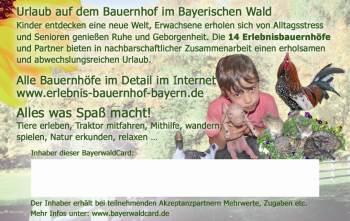Bayerwald Karte Rabatte und Zugaben im Urlaub